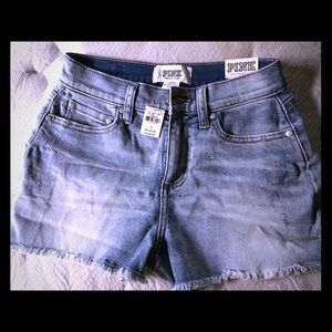 PINK Victoria's Secret Shorts - PINK high wasted jean shorts NWT